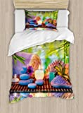 Ambesonne Spa Duvet Cover Set Twin Size, Stones with Candles Spiritual Eastern Yoga Relaxation Meditation Chakra Bamboos Print, Decorative 2 Piece Bedding Set with 1 Pillow Sham, Multicolor