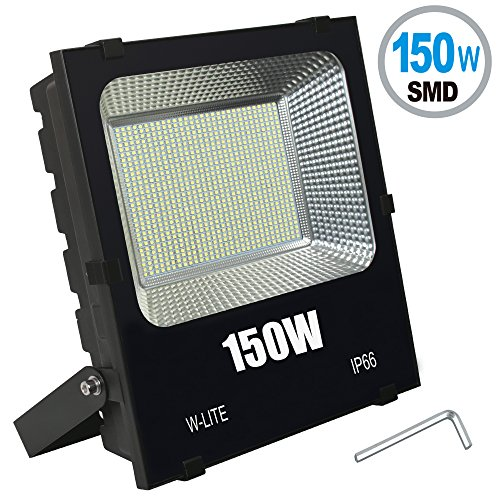 W-LITE 150W LED Flood Light, Super Bright 300 LED, 16500LM, Soft Daylight White, Full Power, 1200W Equivalent, Waterproof Outdoor Lighting, Security Lamps, 86-265V Input Voltage (150W) (150w 120v Lamp)