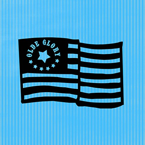 - Old Glory American Flag Novelty Square Aluminum Metal Sign Light Blue Stripes Background Black Lettering