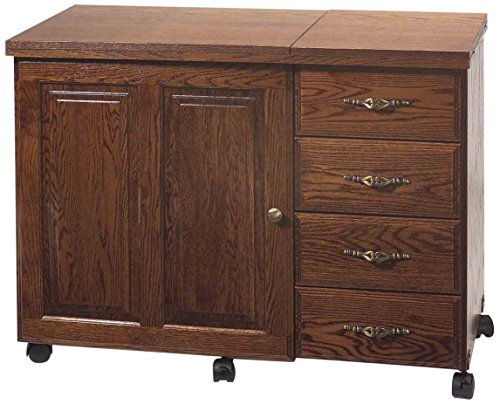 Model 6900 Premium Real Oak Sewing Cabinet New Real Knotty Alder Premium Cabinet with 4 Drawers and a Electric Lift. Cherry
