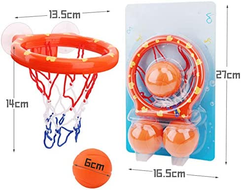 2 Sets of Bath Toy Basketball Hoop with Suction Cups Bath Toy Basketball Toy Bathtub Shooting Game for Boys and Kids 6 Basketballs