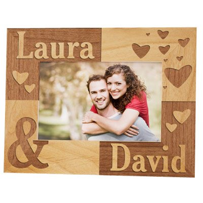 Just The Two of Us Personalized Wood Picture Frame for 4x6 Photo, Engraved, Gift for Couple