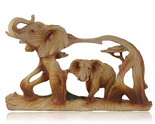 Unison Gifts Elephant in Elephant Faux Wood Carving, 8 Inches