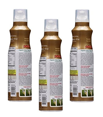 Pompeian Organic Extra Virgin Olive Oil Cook Spray, 5.0 FL OZ (Pack of 3) by Pompeian (Image #1)