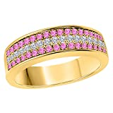 6MM 14K Yellow Gold Finish .925 Silver 0.50CT Pink Sapphire & White Cz Diamond Ring 3 Row Pave Half Eternity Men's Wedding Band Ring Size All Available