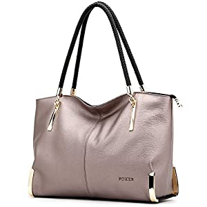 Cow Leather Handbags for Women, Ladies Top-handle Tote Purse Shoulder Bags