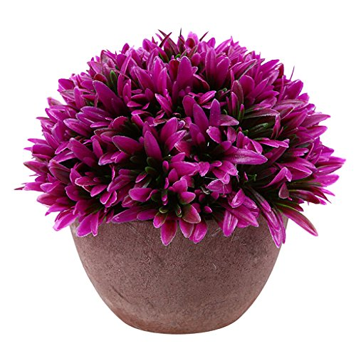 Blesiya Natural Look Orchid Grass Bonsai Topiary In/outdoor Foliage Plant Pot Red