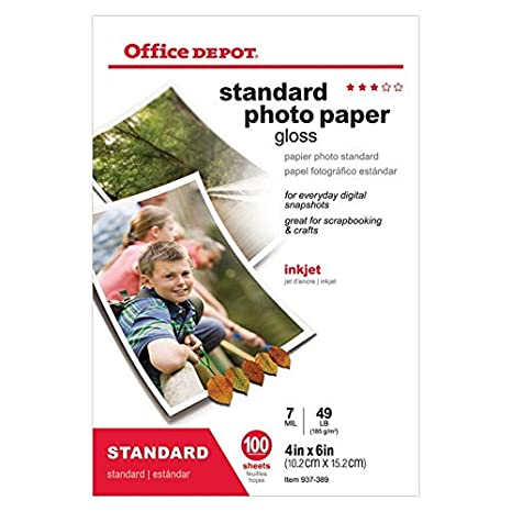 Amazon com : Office Depot Standard Photo Paper, Glossy, 4in