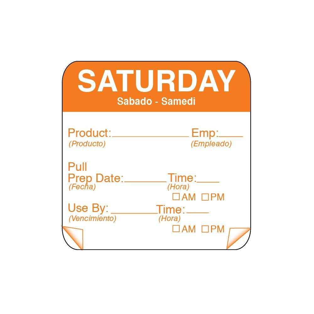 DayMark 115151-6 ToughMark 2'' Saturday Use By Day Square - 500 / RL