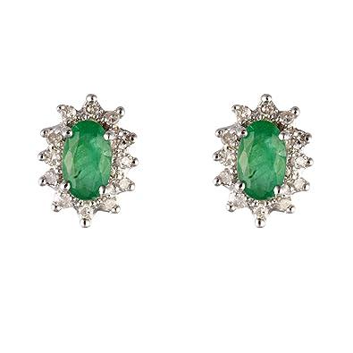Ivy Gems 9ct Yellow Gold Emerald and Diamond Twist Drop Earrings HionzhGo2