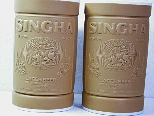 2-pcsx-singha-beer-label-embossed-on-the-bottle-or-can-cooler-holder-brown