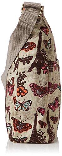 SwankySwansNoel Paris Butterfly Floral Large - Borsa a tracolla donna Beige (Beige (Beige))