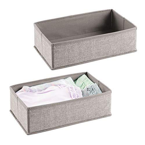 mDesign Soft Fabric Dresser Drawer and Closet Storage Organizer for Toddler/Kids Bedroom, Nursery, Playroom - Rectangular Bin with Textured Print, 2 Pack - Linen/Tan