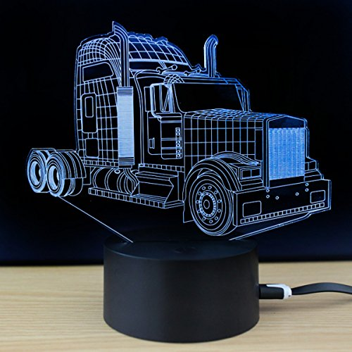 - 3D Optical Illusion Desk Lamp/3D Optical Illusion Night Light, 7 Color LED 3D Lamp, Muscle Car 3D LED For Kids and Adults, Muscle Car Light Up Truck 3D Hologram