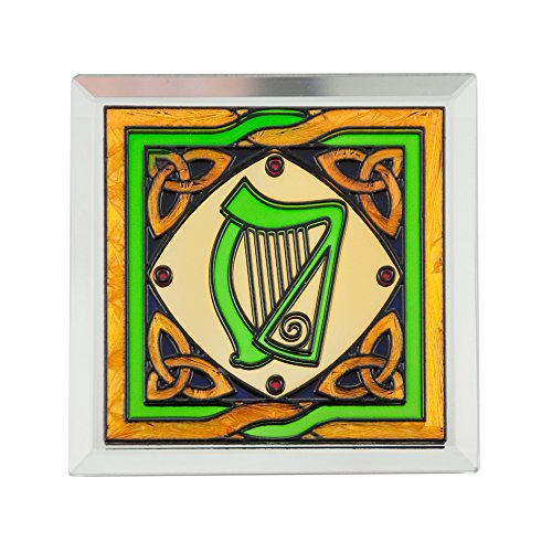 Stained Glass Loose Coaster With Harp Design
