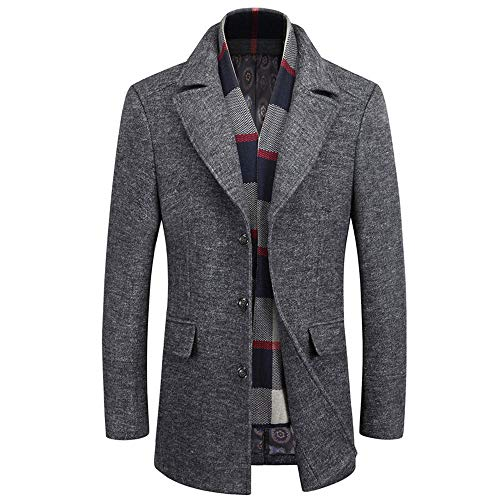 WULFUL Men's Wool Trench Coat Winter Slim Fit Pea Coat with Free Removable Plaid Scarf ()
