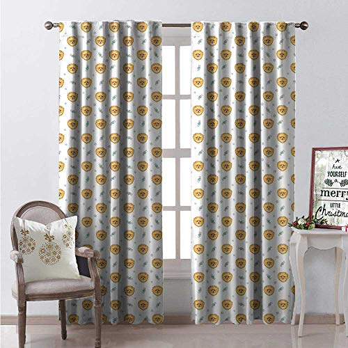 Pomeranian Window Curtain Drape Pattern Hand Drawn Puppies Paw Prints and Bones Bowties Customized Curtains W84 x L84 Mustard Seafoam and White