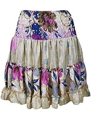 Carissa Womens Summer Silk Beach Short Skirts Recycled Sari Swing Flare