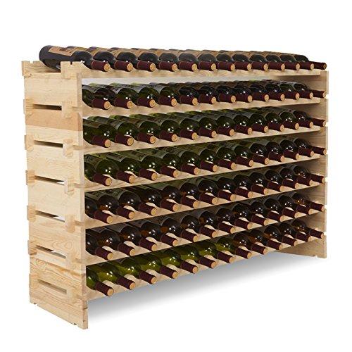 Mecor Wine Rack Shelf Standing Floor Wooden Stackable Wine Bottle Storage Shelves (7 Tier( 91 (Solid Pine Wine Rack)