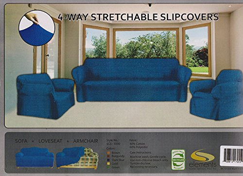 E&A LINEN CORP. STRETCH FORM FIT 3 Pc. Slipcovers Set Couch/Sofa Loveseat Chair Covers - NAVY (NAVY)