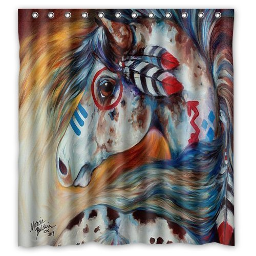 Amazon Custom Shower Curtain Spirit Indian War Horse Waterproof