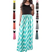 HanDanGe Women's Summer Chevron Striped Print Dress Tank Long Maxi Dresses For Women Green-XL HanDanGe