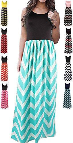 LIYOHON Women's Summer Chevron Striped Print Dress Tank Long Maxi Dresses for Women (Medium, Green) -