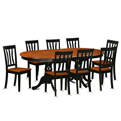 East West Furniture PLAN9-BCH-W 9 Piece Table and 8 Chairs Set