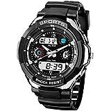 ECOOPRO Men's AK1170S Black Rubber Strap Silver-Tone Analog Digital Sport Watch Waterproof