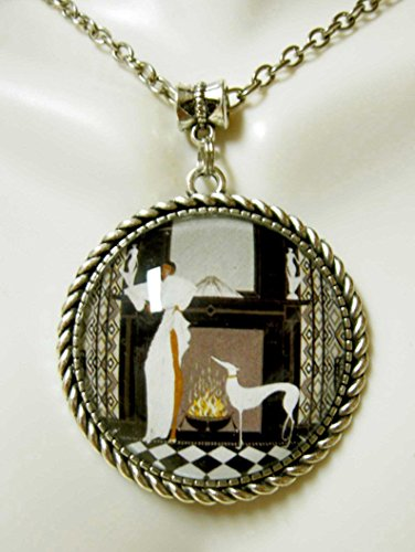 Art deco greyhound at the fireplace pendant with chain - DAP25-053