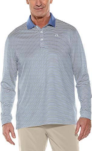 Coolibar UPF 50+ Men's Long Sleeve St. Andrews Golf Polo - Sun Protective (Large- Dusk Blue/White ()