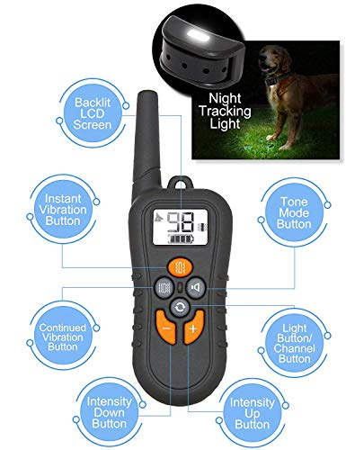 (YISENCE Remote Vibration, Shock, Tone and Backlight LCD, Vibra Shock Electronic Collar)