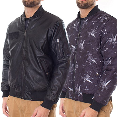 Grimey Chaqueta Bomber Reversible IGNIS Leather FW15 Black: Amazon.es: Ropa y accesorios