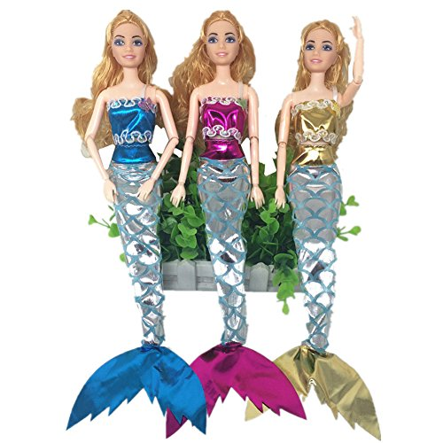 Barbie Types Costumes Of (Sea Princess Clothes Mermaid Costume Bra & Dress with Magic Stick For 11inches Barbie Doll (Clothes)