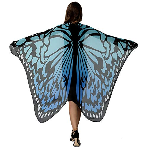 HITOP Butterfly Wings for Women, Butterfly Shawl Fairy Ladies Cape Nymph Pixie Costume Accessory Black/Blue ()