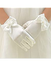 WHITE SATIN GLOVE FIRST COMMUNION GIRL CHILDS DRESS/VEIL