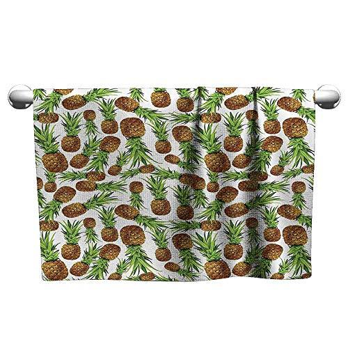 - DUCKIL Beach Towel Pineapple Decor Collection Natural Organic Sweet Pineapple Pattern Scrapbook Juice Juicy Picnic Theme Art Extra Long Bath Towel 10 x 10 inch Green Brown