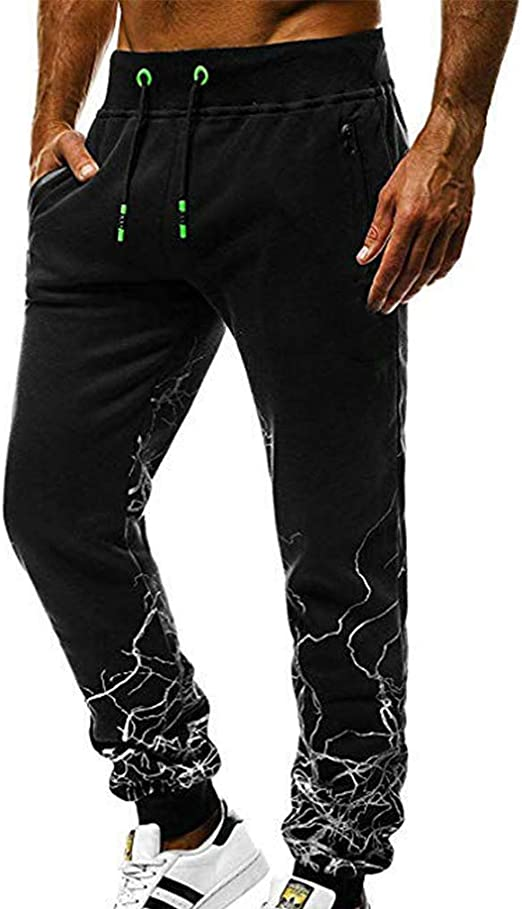 USA Mens Leisure Lace Up Stretchy Waist Pants Casual Zip Long Trouser Sweatpants