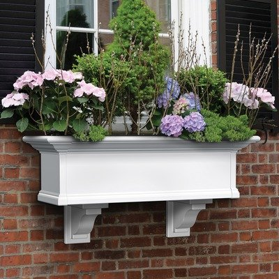 Mayne Yorkshire II 36'' Window Box Combo with Corbel Brackets White 3' by Home Wishes