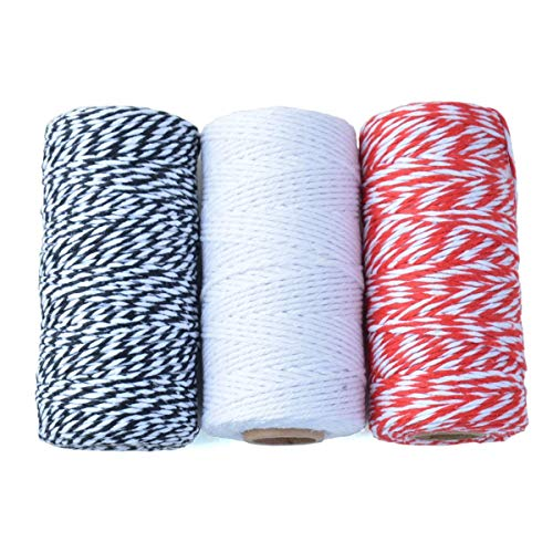3 Rolls 984 Feet 2 MM Cotton Bakers Twine Spool Ribbon Cord Rope Pakcing String for Gift Wrapping, Bundling, Gardening, Repairing, Christmas Gifts Decoration (Each Roll 328 Feet)
