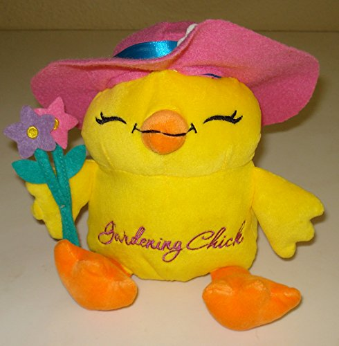 Gardening Chick Soft Plush Holding Flowers - Sits 7 Inches