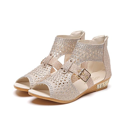 Bovake Summer Women Sandals, Summer Women Wedge Sandals Fashion Fish Mouth Pumps Sexy Hollow Out Shoes Beige