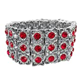 Gypsy Jewels Lace Look Rhinestone Fancy Formal Silver Tone Stretch Bracelet (Red)