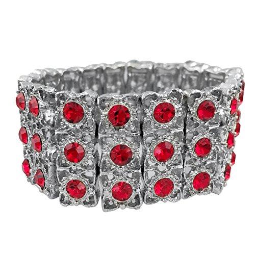 Gypsy Jewels Lace Look Rhinestone Fancy Formal Silver Tone Stretch Bracelet (Red) by Gypsy Jewels