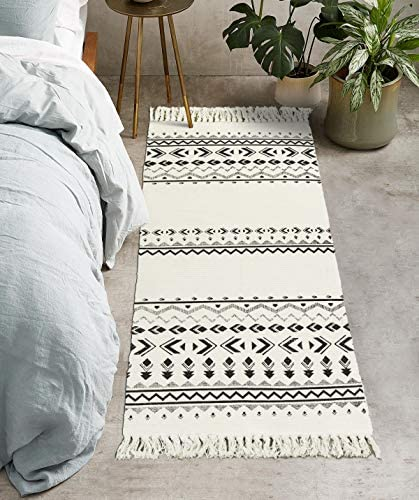 Uphome Tribal Cotton Runner Rug 2 x 4.3 Boho Modern Geometric Area Rugs with Chic Tassel Fringe Hand Woven Throw Rugs Machine Washable Floor Carpet for Laundry Hallway Porch Bedroom Kitchen