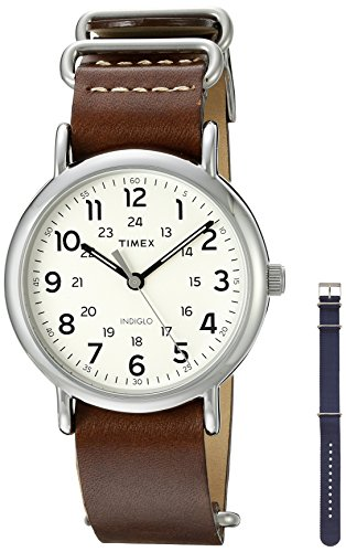 Timex Unisex TWG012500QM Weekender Watch With Two Interchangable Bands (Timex Weekender Slip Thru Band)