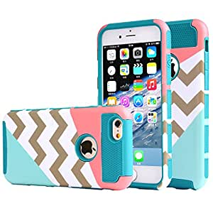 iphone 6 plus case,UUlike[2in1] Heavy Duty Hybrid Hard Case for Apple Iphone 6 6s plus(5.5 inch),6g,6th Generation--Powder Blue Mint Teal and Coral Pink Split Chevron Design Cover£¨Teal Silicone Shell£©