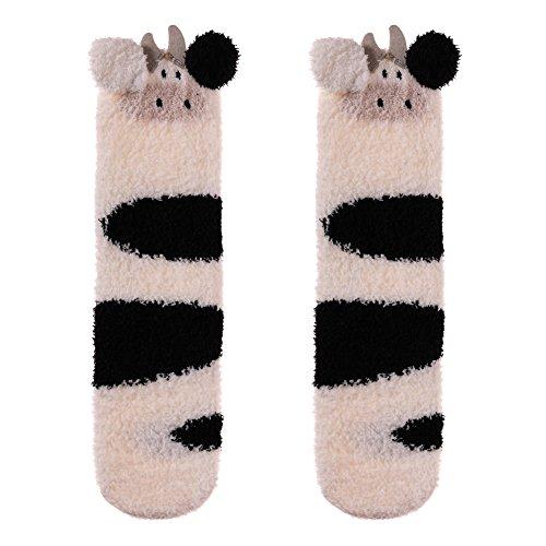 LANLEO Womens Girls Soft Fuzzy 3D Cute Animal Sleeping Winter Warm Slipper Socks 1 Pairs Cow