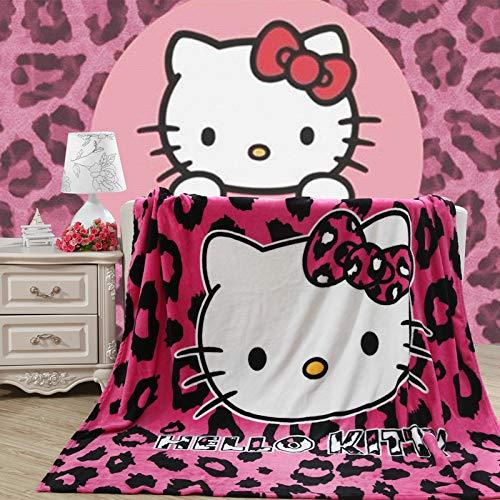SXTMANX Home Textile Hello Kitty Coral Fleece Blanket for Adult/Kids Gift Warm Soft Doraemon Flannel Blankets Bedspreads]()