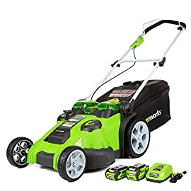 Greenworks 40V Brushless 107 G-max 40 Volts Li-Ion battery system powers multiple tools for complete yard work system--includes one 4 Ampere hour battery and one 2 Ampere hour battery and charger ,  Voltage - 40 Volts 20-inch cutting deck offers a great balance of maneuverability and cutting capacity making it ideal for mid-sized areas Innovative smart cut technology adjusts for power or runtime based on the thickness of your grass